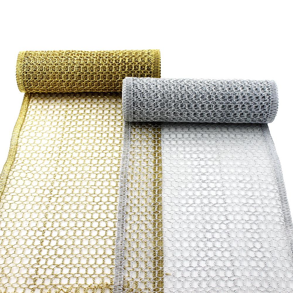 gold//silber Tüllband weich 20 Meter Gitterband 50mm wetterfest