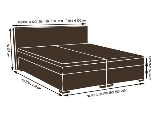 boxspringbett schlafzimmerbett ancona 120x200 cm fun m bel. Black Bedroom Furniture Sets. Home Design Ideas