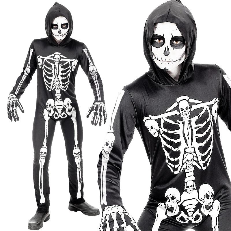 Skelett Kinder Halloween Kostüm Gr 128 Fasching Knochen Karneval Gerippe