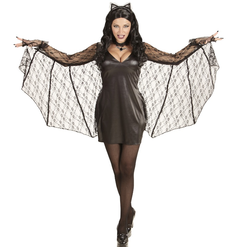 sexy fledermaus bat damen kost m s 34 36 halloween kleid mit fl gel und ohren ebay. Black Bedroom Furniture Sets. Home Design Ideas