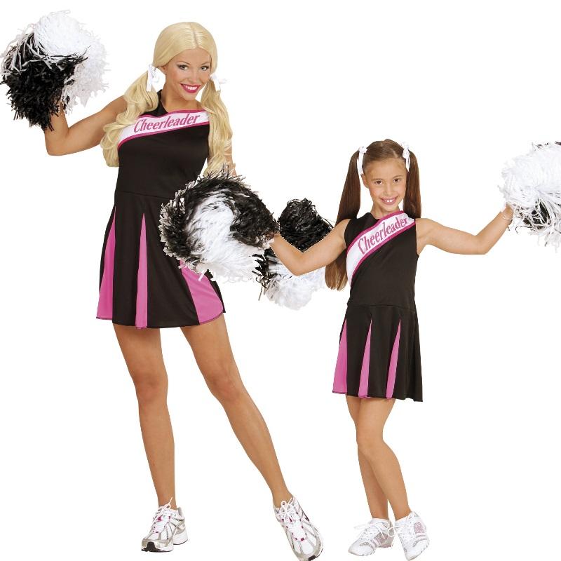 Damen Kinder Cheerleader Kleid Sport Kostüm schwarz/pink Gr. 104 cm ...