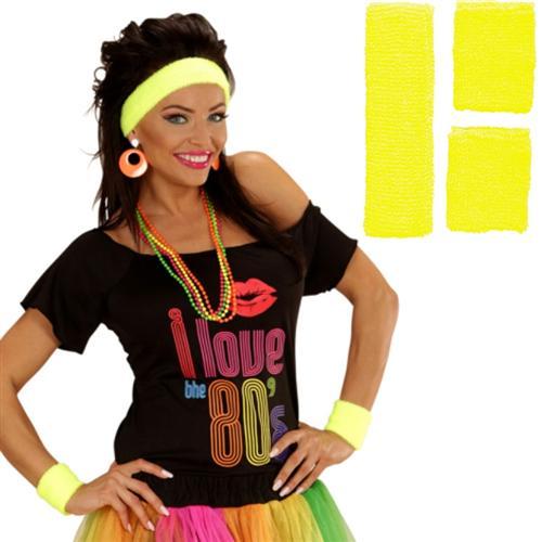 80er jahre 2 schwei b nder stirnband neon gelb farben. Black Bedroom Furniture Sets. Home Design Ideas