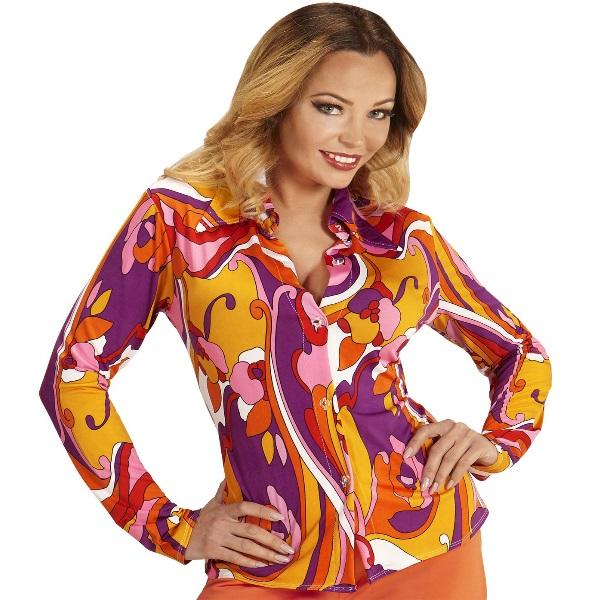 70er jahre damen bluse kost m zubeh r schlager hippie motto party s xl 9023 ebay - Hippie bluse damen ...