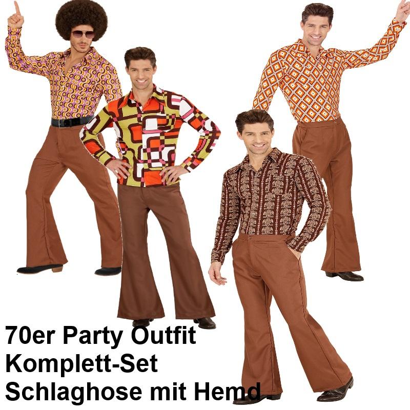 70er Jahre Herren Schlaghose Hemd Braun Kostum Disco Hippie