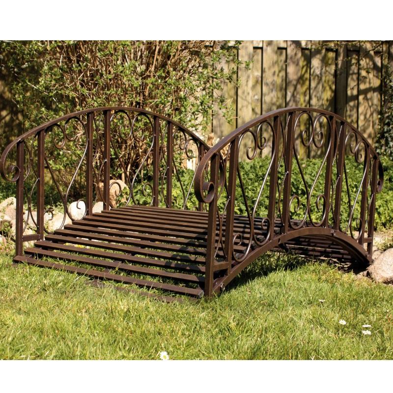 gartenbr cke teichbr cke braun metall rostoptik gel nder teichsteg gartendeko 4043936068832 ebay. Black Bedroom Furniture Sets. Home Design Ideas