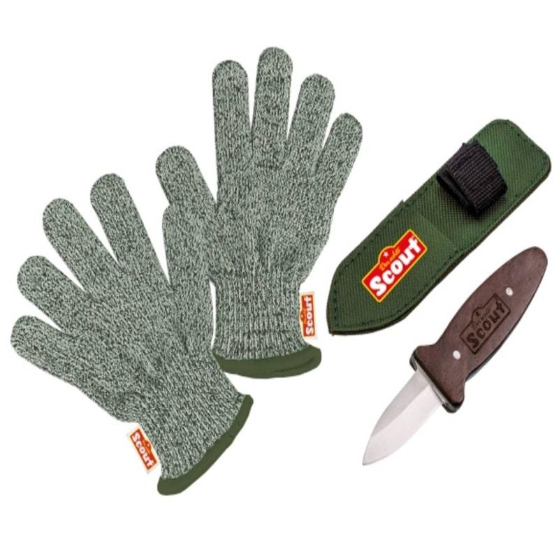 SCOUT Schnitzhandschuhe SET mit Schnitzmesser und Messerscheide #350