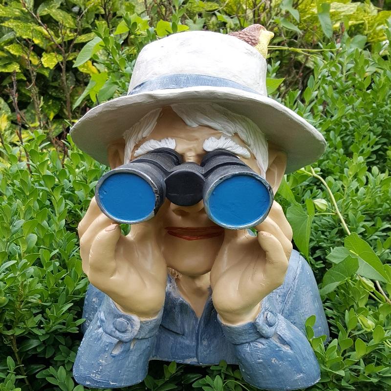 Spanner mit Fernglas Opa Paschulke Garten Deko Figur Jäger mit Hut /& Vogel #041