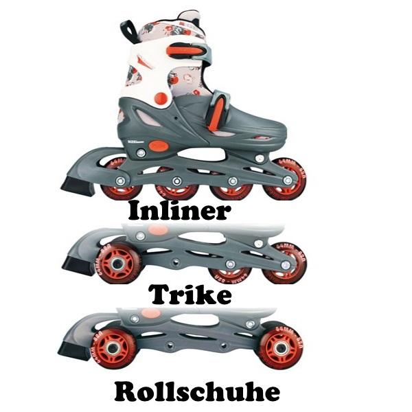 3in1 Kinder Mädchen/Jungen Inlineskates/Triskates/Rollschuhe Inlineskates/Triskates/Rollschuhe Inlineskates/Triskates/Rollschuhe Nijdam verstellbar ebea29