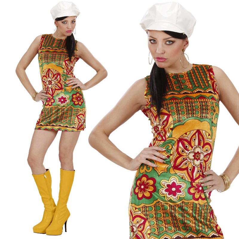 Top Damen Hippie Retro Kostüm 60er 70er Jahre Pop Disco: 60er 70er Damen Kostüm -Kleid Mit Hut- Sexy Hippie Flower
