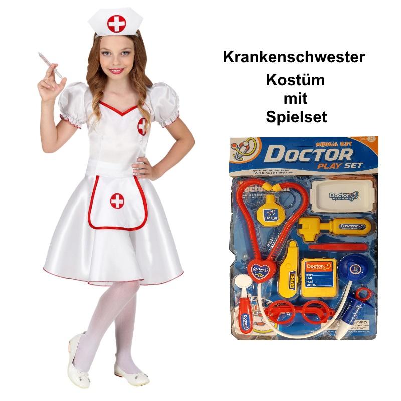 Krankenschwester Kinder Kostum Mit Spielset Madchen Arztin