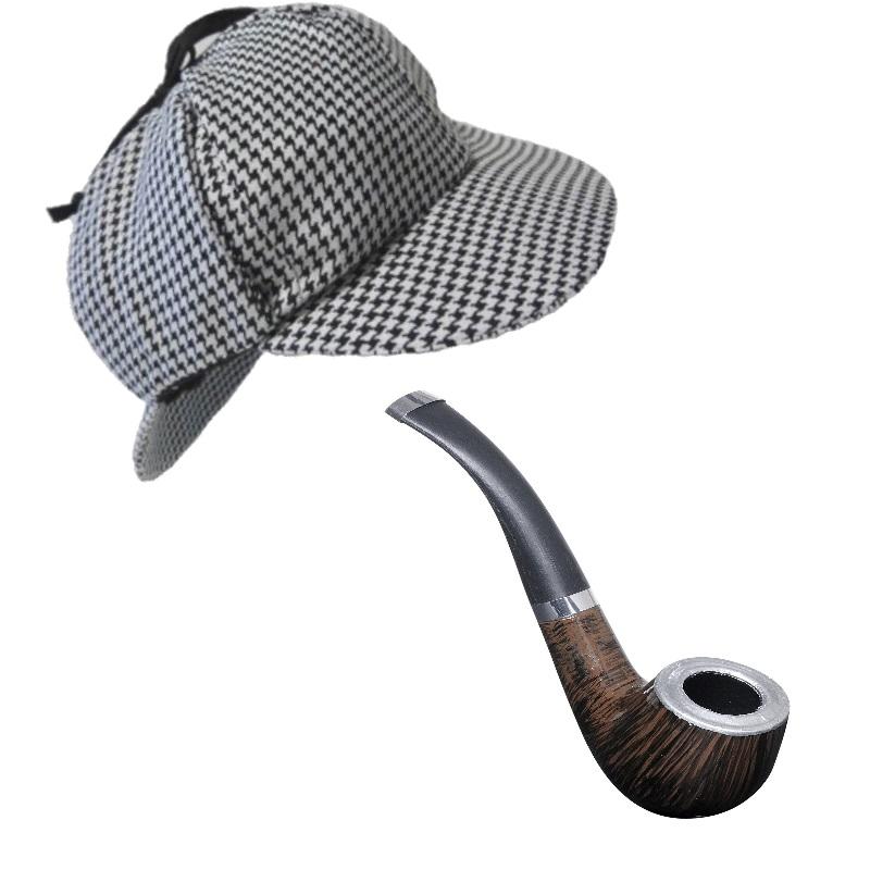 Sherlock Holmes HUT DEERSTALKER MIT PFEIFE Detektiv Kostüm Zubehör #8626p