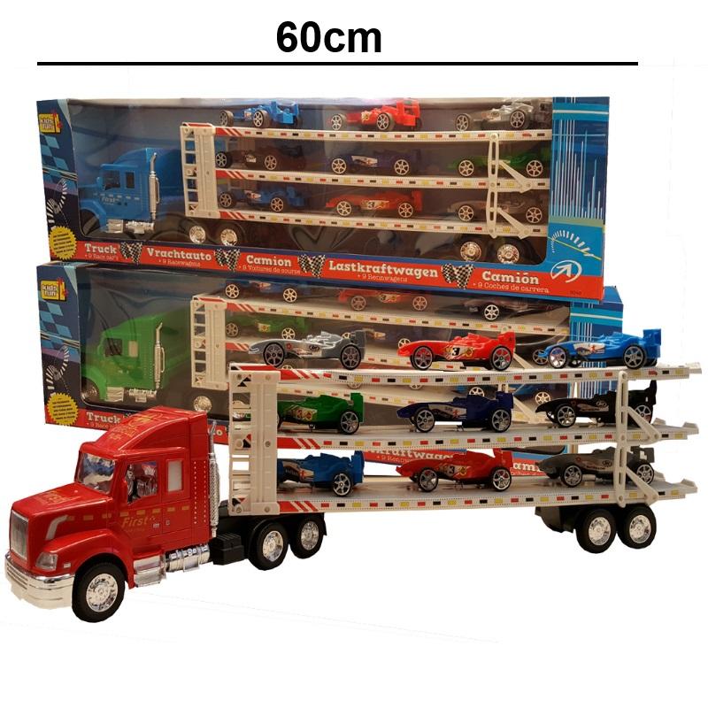 US Truck Autotransporter farb 15 cm  NEU Holz Lkw  Laster Holzauto Holzlaster