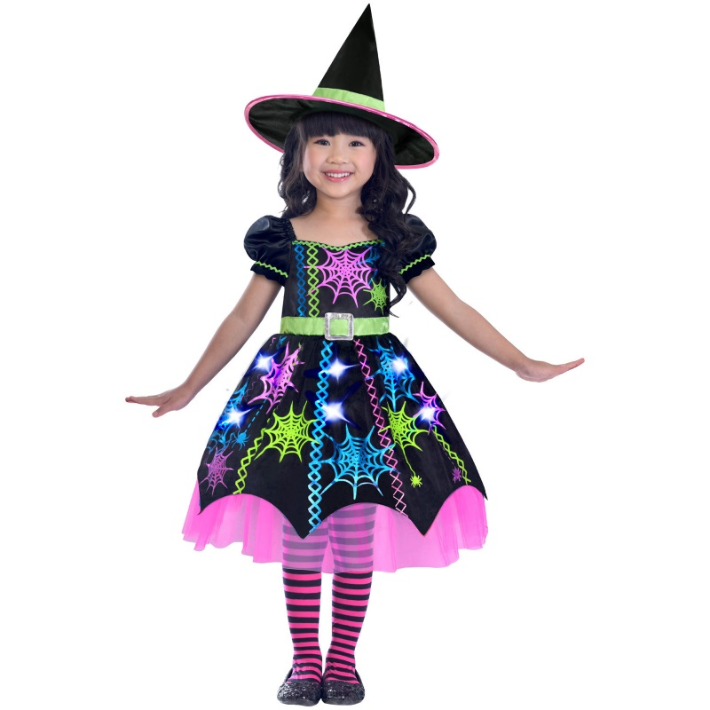 Mädchen Karneval Fasching Verkleidung Kostü Grüne Spinnenhexe Kinderkostüm NEU
