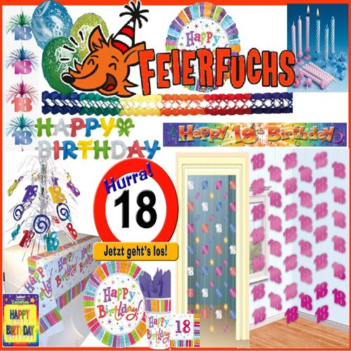 18 geburtstag deko tischdeko party servietten teller for Dekoration 18 geburtstag