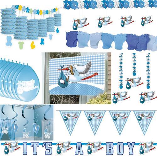 Party Deko Geburt Taufe Junge Babyparty Baby Deko Blau Hellblau
