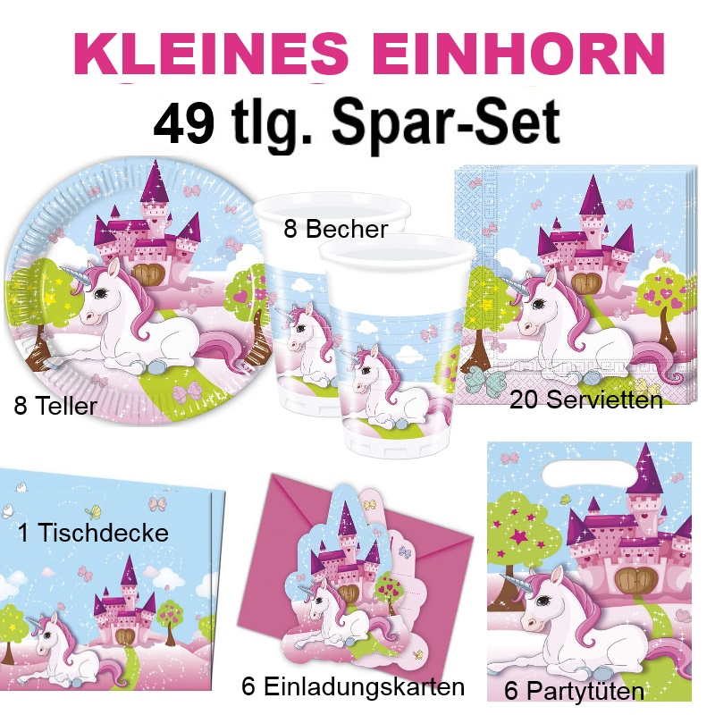 49tlg spar set kleines einhorn kinder geburtstag party deko pferd teller becher ebay. Black Bedroom Furniture Sets. Home Design Ideas