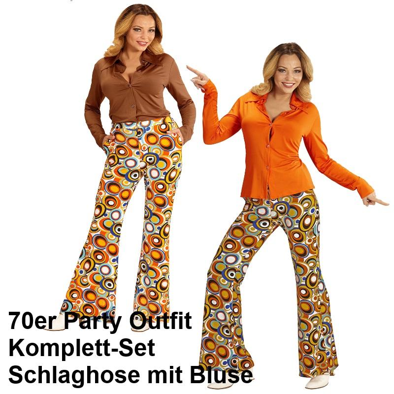 70er jahre damen schlaghose bluse bubbles kost m disco - Hippie bluse damen ...