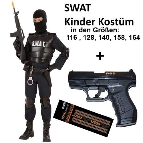 polizei kinder kostüm swat agent officer mit knallpistole