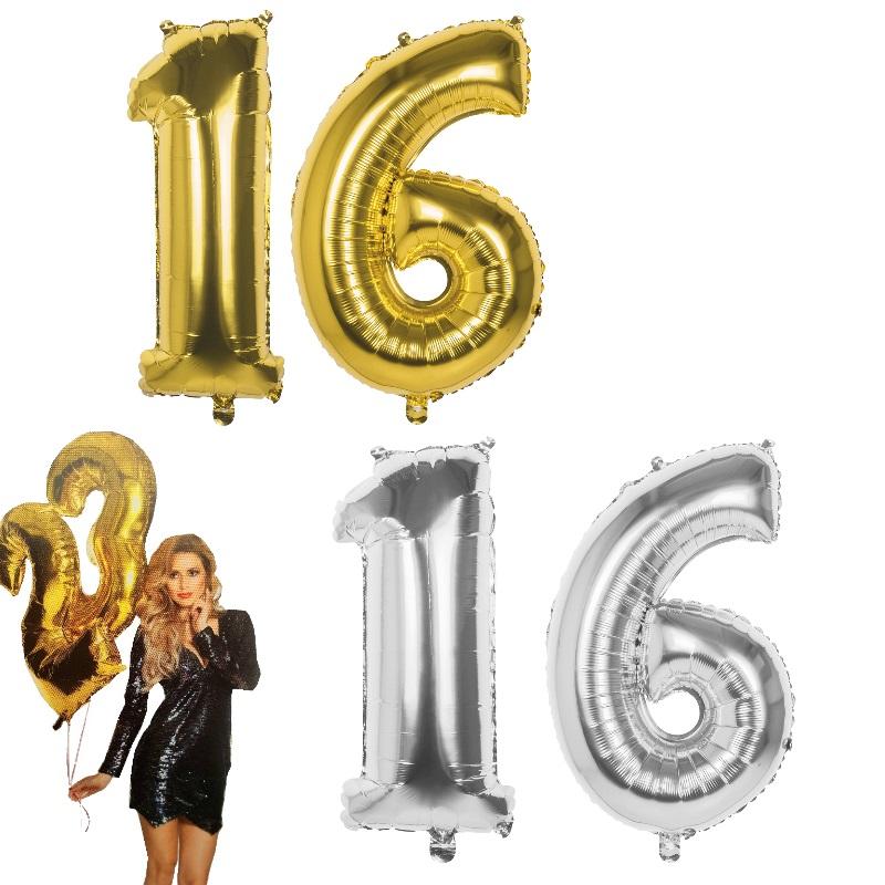Silber Lutballon Geburtstag Jubiläum XXL Folienballon Helium Ballon Zahl Gold