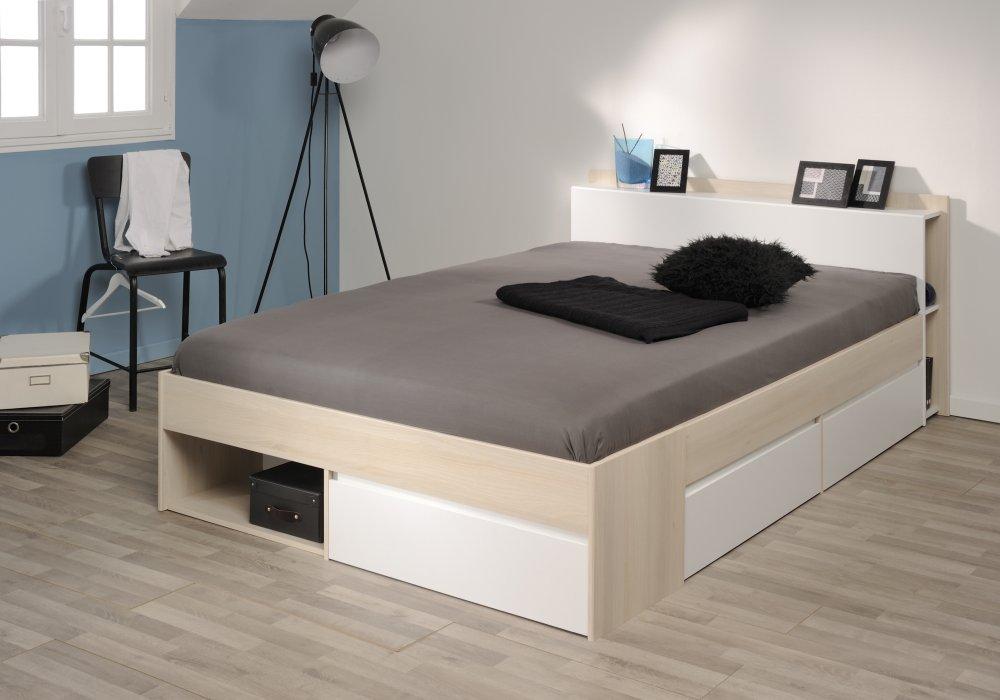 bett stauraumbett einzelliege 140x200 cm schlafzimmer akazie weiss neu ebay. Black Bedroom Furniture Sets. Home Design Ideas
