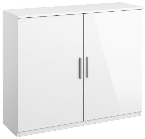 kommode 2 trg anrichte wohnzimmer schlafzimmer b ro weiss hochglanz neu ebay. Black Bedroom Furniture Sets. Home Design Ideas