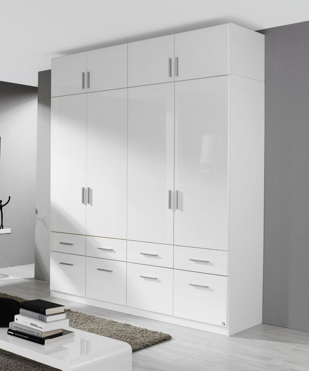 kleiderschrank 4 trg schubk sten aufsatz schrank weiss. Black Bedroom Furniture Sets. Home Design Ideas