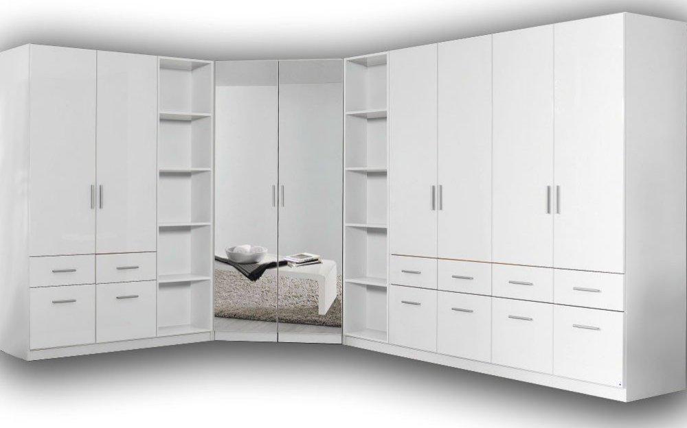 eck kleiderschrank kleiderschrank regale schlafzimmer weiss hochglanz neu ebay. Black Bedroom Furniture Sets. Home Design Ideas