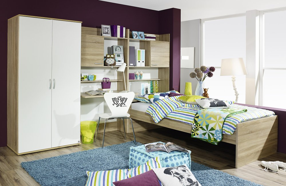 jugendzimmer kinderzimmer 3 tlg schrank bett 90x200 emilio 1 eiche weiss neu ebay. Black Bedroom Furniture Sets. Home Design Ideas