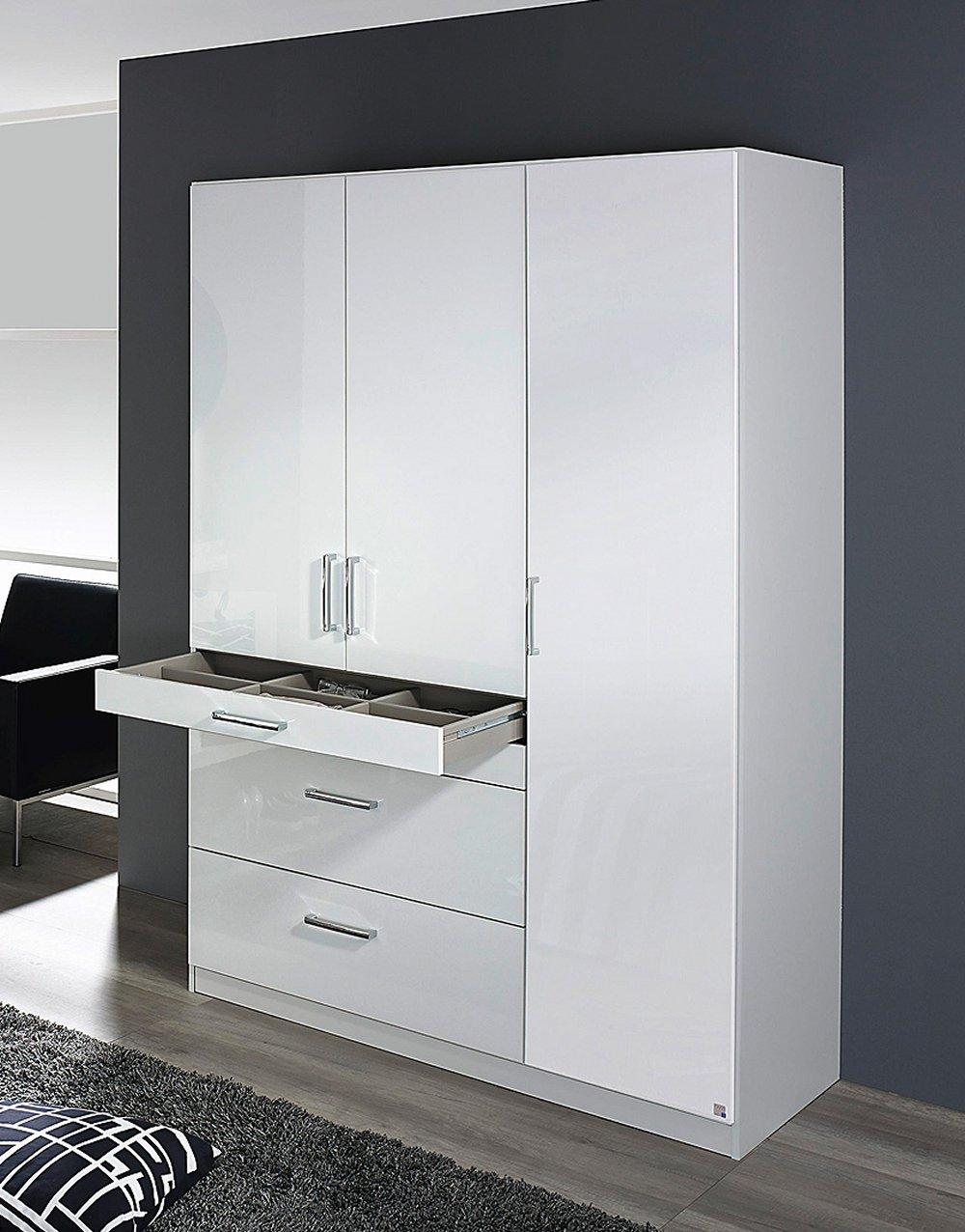 kleiderschrank 3 trg schrank schubk sten schlafzimmer weiss hochglanz neu ebay. Black Bedroom Furniture Sets. Home Design Ideas