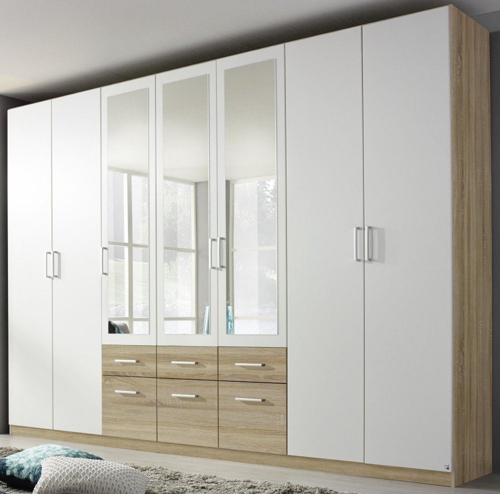 kleiderschrank 7 trg schrank spiegel schubk sten eiche sonoma weiss neu ebay. Black Bedroom Furniture Sets. Home Design Ideas