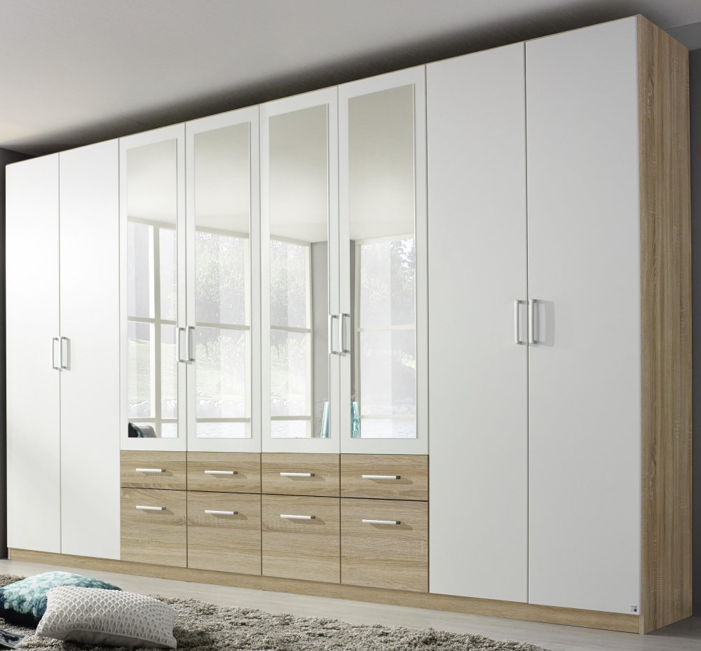 kleiderschrank 8 trg schrank spiegel schubk sten eiche sonoma weiss neu ebay. Black Bedroom Furniture Sets. Home Design Ideas