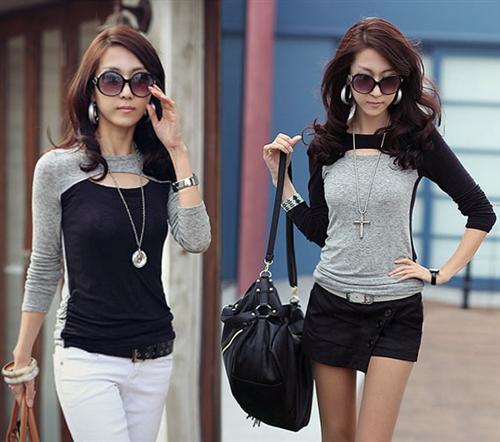 Damen-Zweifarbige-Oberteil-Bluse-Tunika-Longshirt-Boho-Style-S-M-L-XL