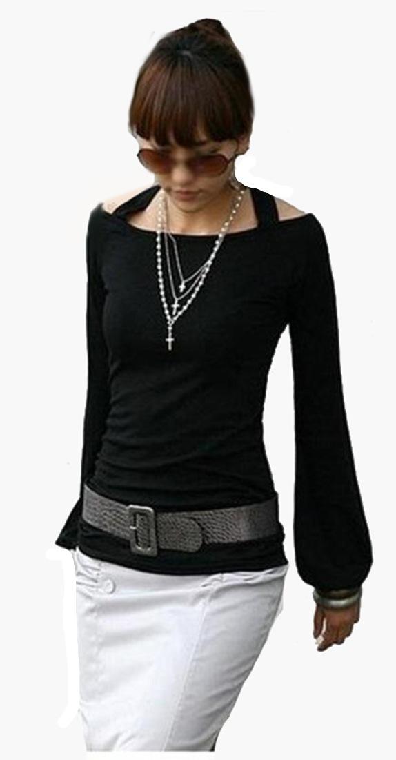 Damen-Bluse-langarm-Tunika-Longshirt-rueckenfrei-Fledermaus-Ballon-Armel-S-M-L