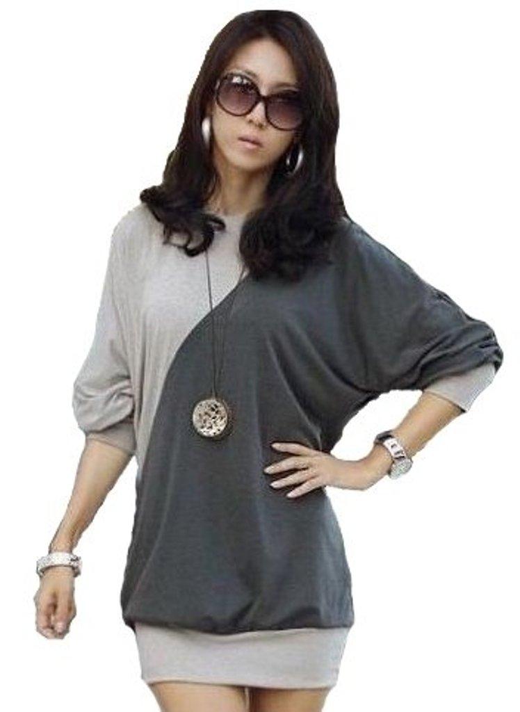 Damen Langarmshirt Tunika Bluse Longshirt weite Fledermaus ¾ Ärmel 36 38 40 42