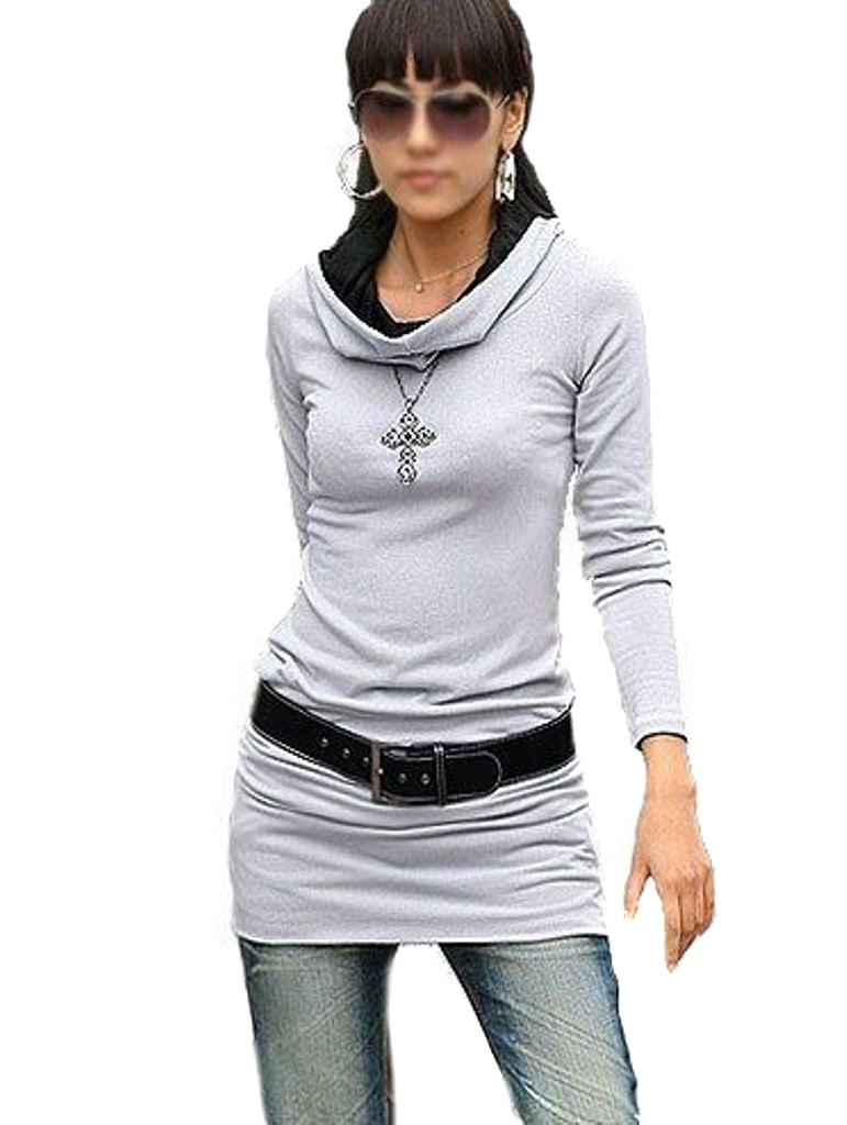 damen tunika longshirt mini langarm kleid shirt mit kapuze. Black Bedroom Furniture Sets. Home Design Ideas