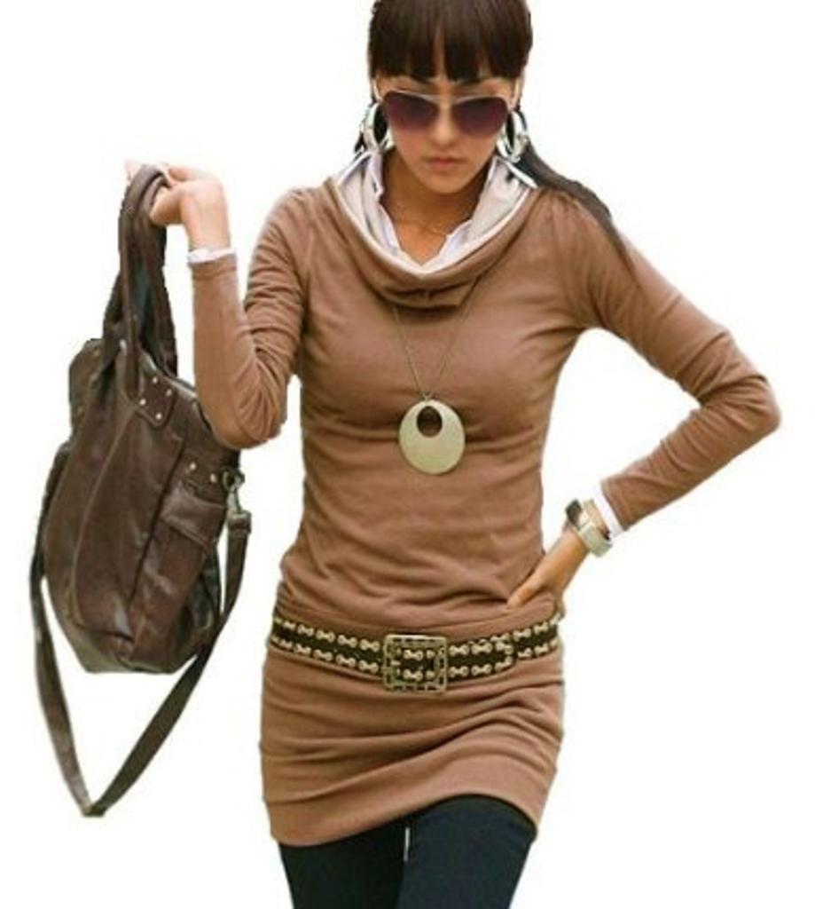 Damen-Tunika-Longshirt-Minikleid-Langarm-Shirt-Kapuze-Kapuzenshirt-36-38-40-42