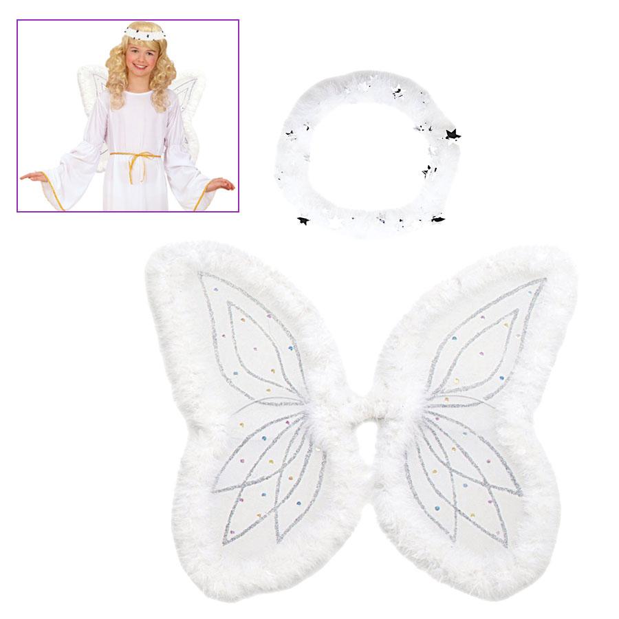 Engel Flugel Heiligenschein Kinder Karneval Fasching Kostum Set