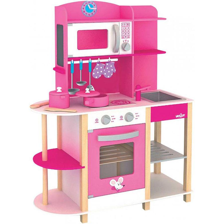 Details zu KINDER HOLZ SPIELKÜCHE PINK Kinderküche Kleinkinder  Spielzeugküche Küche # 91311