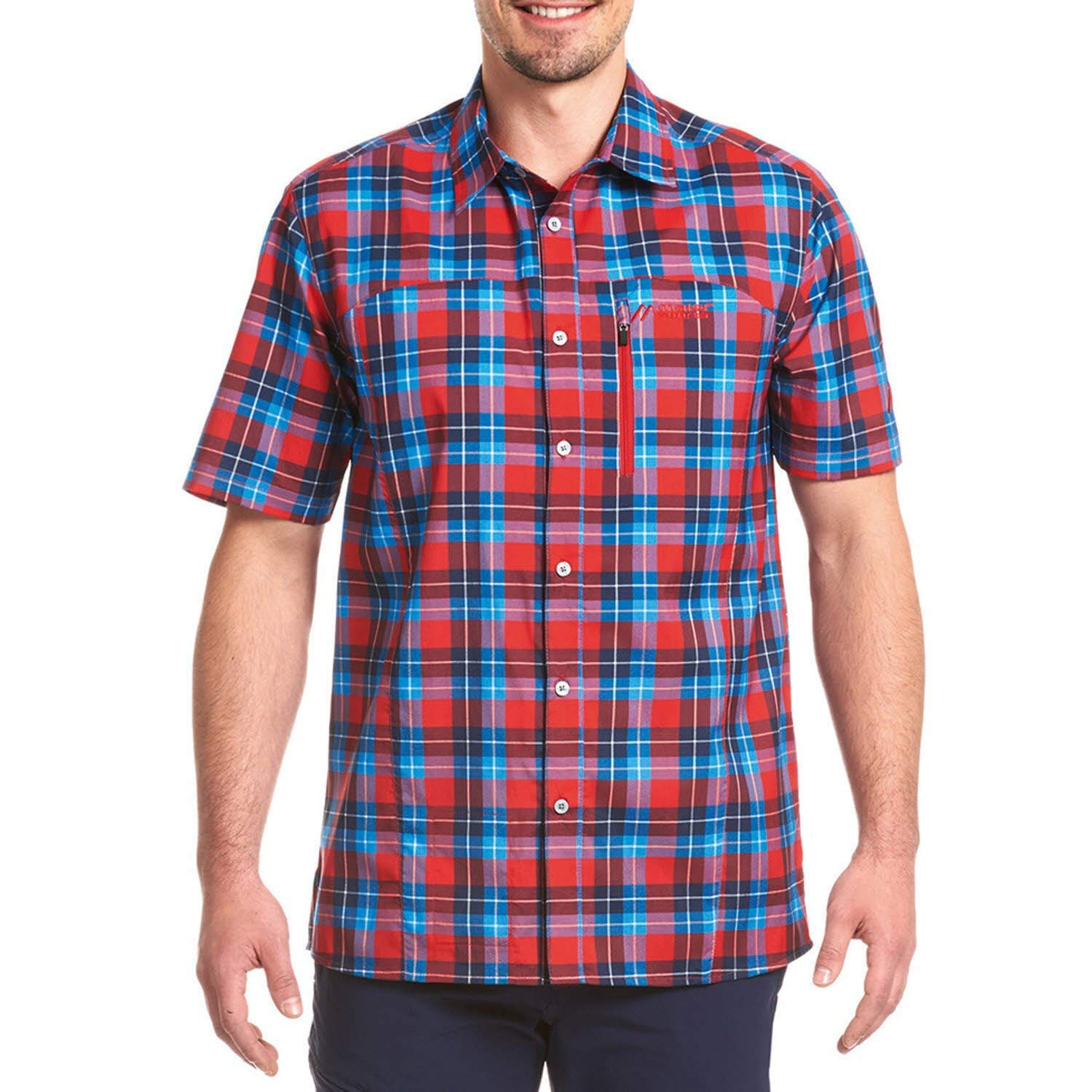 Maier Sports Herren Funktionshemd Madoc S/S red/blue check 54