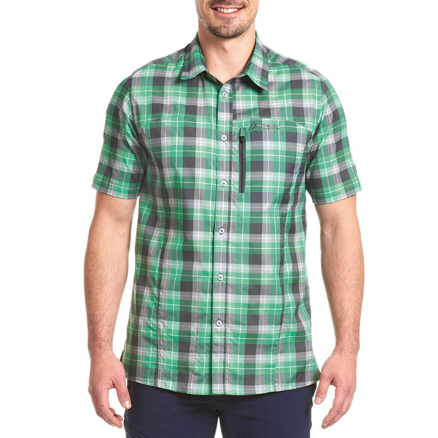 Maier Sports Herren Funktionshemd Madoc S/S green/grey check 58