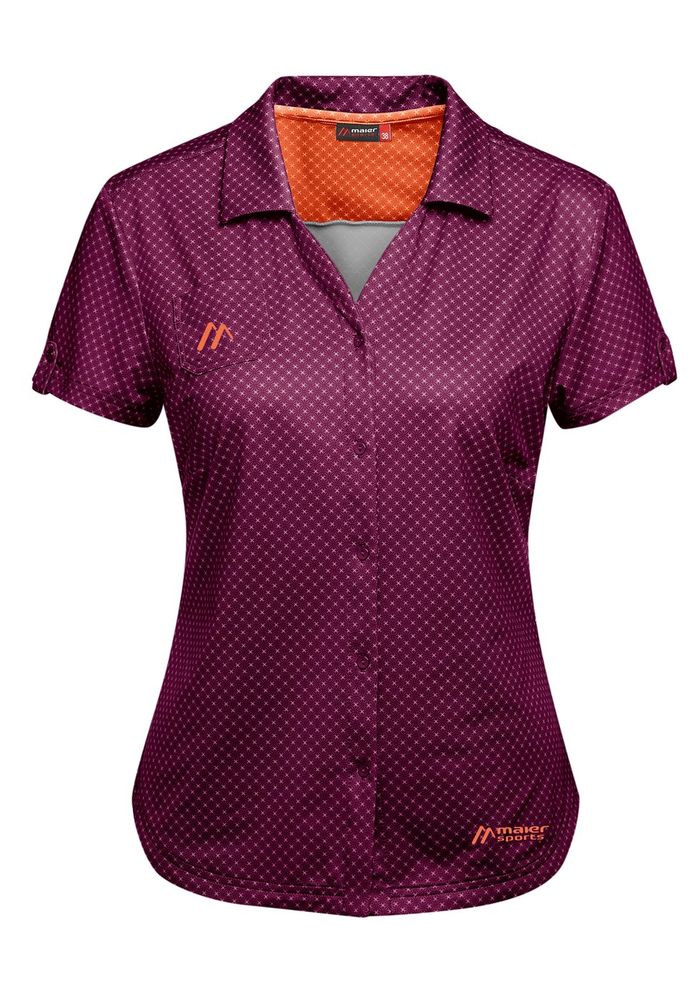 Maier Sports Damen Funktionsbluse Lleyn lilac allover 40