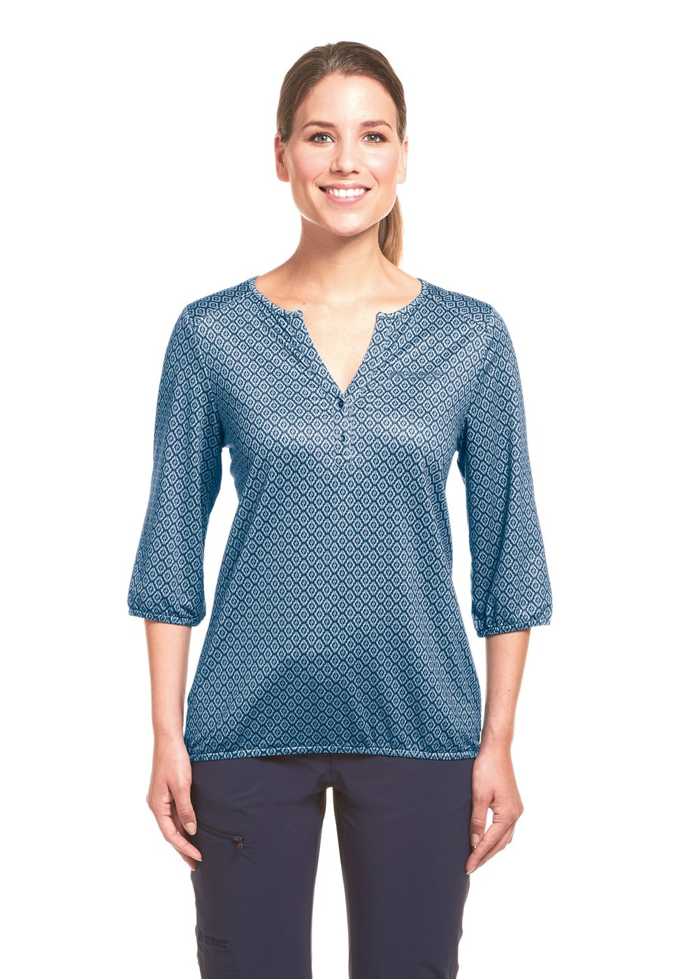 Maier Sports Damen Funktionsbluse Doora - blue allover -