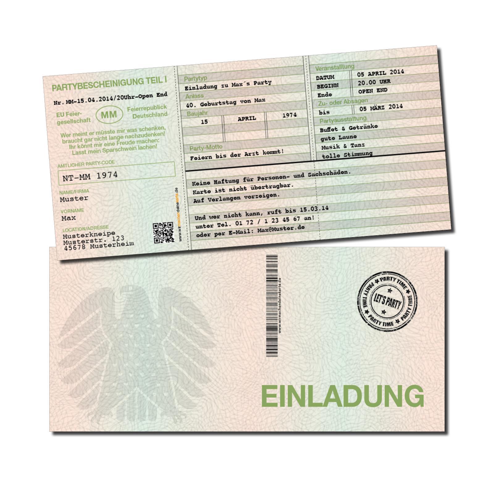 Einladungskarten Geburtstag Geburtstags-Einladung 30 40 50 60 70 Fahrzeugschein   | Rabatt  | Schöne Farbe