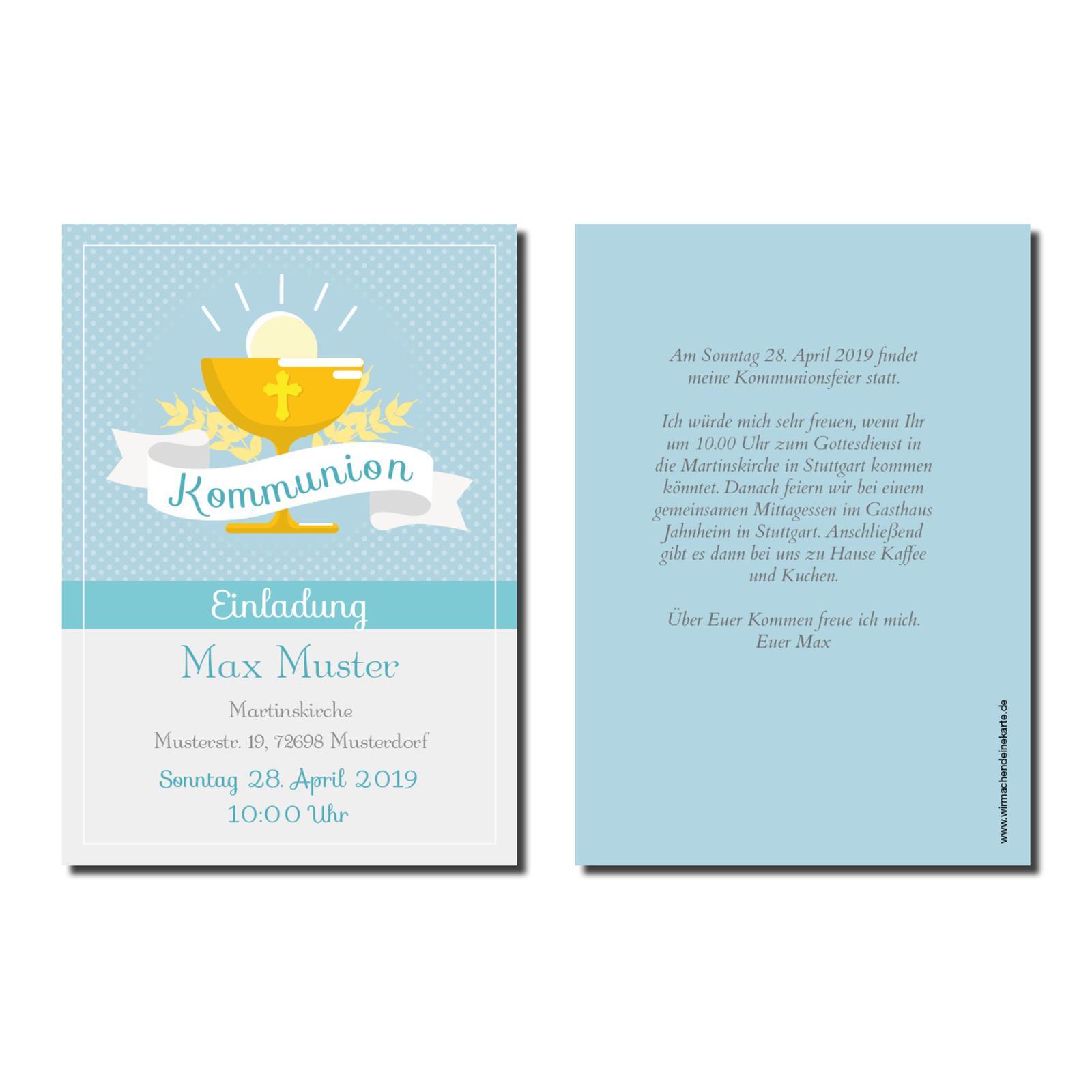 Einladung Einladungskarte Kommunion Blauer Klech