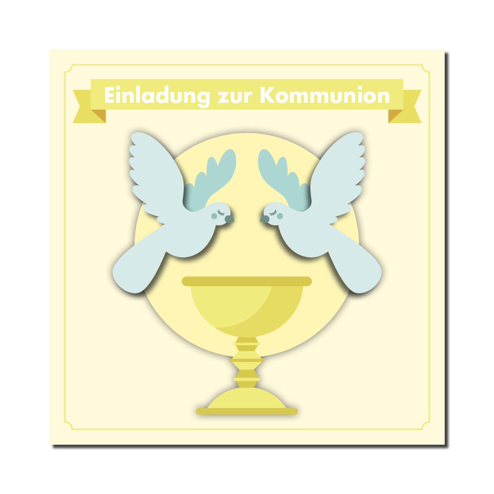 Einladung Einladungskarte Kommunion Friedenstauben  | Exquisite Handwerkskunst  | Kompletter Spezifikationsbereich