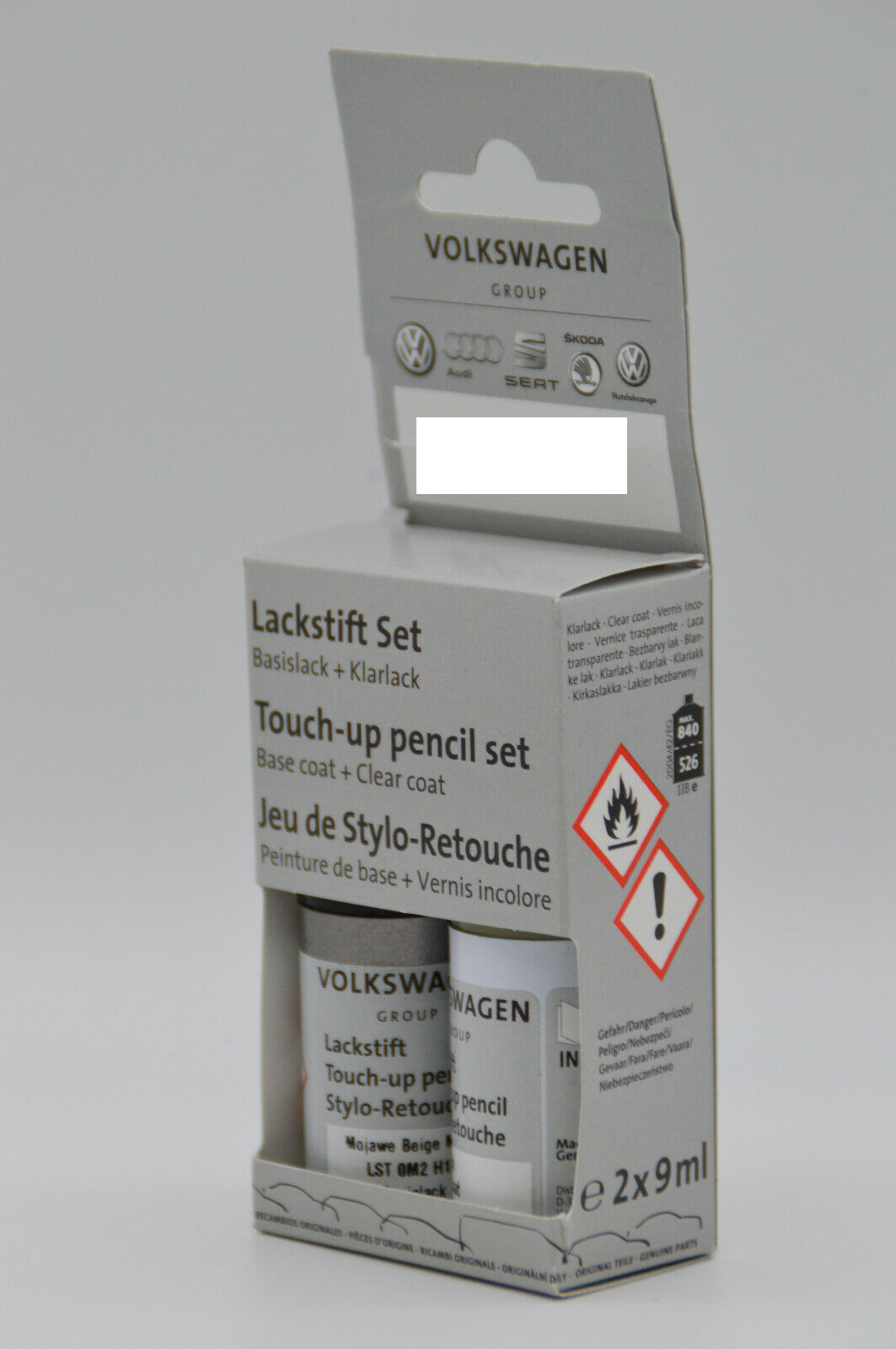 Original VW Audi Lackstift Set 2 x 9 ml LA9W Carbon Steel Grey Metallic A9W