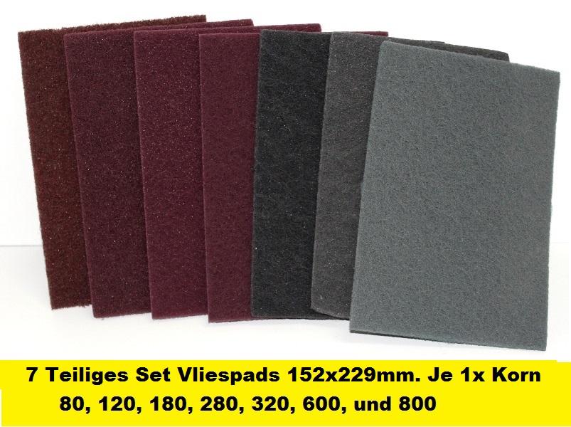 10 Stk Schleifvliespads Korn A080 Handpads Schleifvlies 150x110mm Schleifpads
