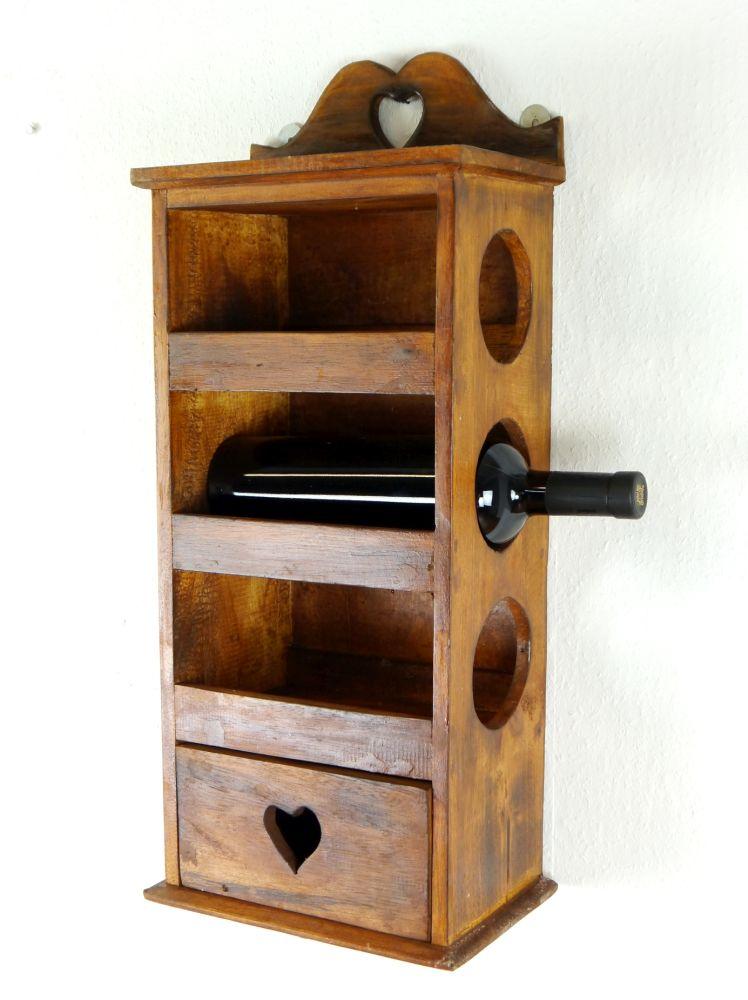 bali wandregal f r flaschen mit schublade. Black Bedroom Furniture Sets. Home Design Ideas