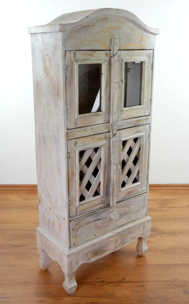 schrank 4 t rig 1 schublade vitrine holzm bel holzschrank kommode bali ebay. Black Bedroom Furniture Sets. Home Design Ideas