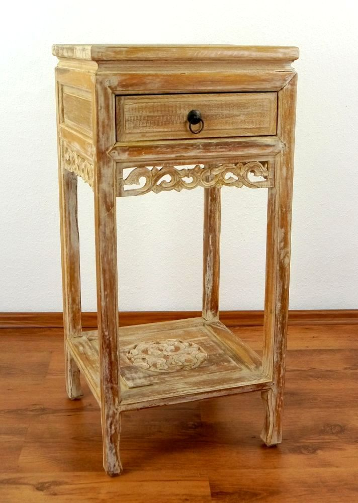 Details About Teak Wood Bedside Table From Bali Shabby Chic Drawer With Unique Carvings